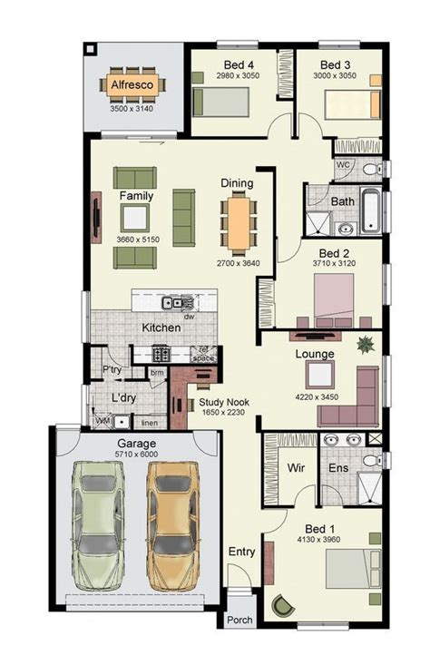 5 Bedroom House Plans Nsw by Single Story Home Floor Plan With 4 Bedrooms