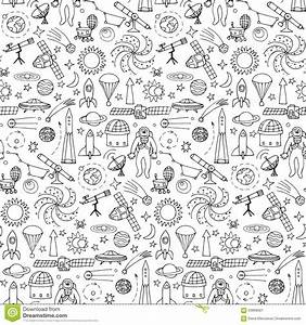 Seamless Pattern With Doodle Space Elements Cartoon Vector ...