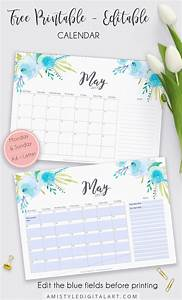 Printable Editable Calendar Planner For May 2017