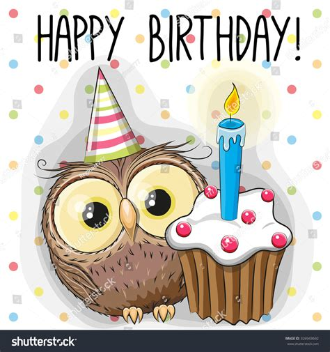 greeting card cute cartoon owl cake stock vector