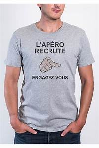 Tee Shirt Moulant Homme : le tshirt homme apero recrute by dit vin tshirt ~ Dallasstarsshop.com Idées de Décoration
