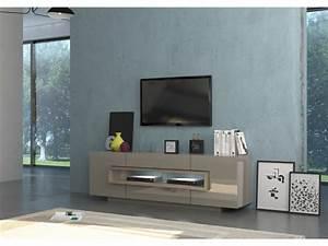 Meuble Tv Chene Clair : meuble tv design high gloss taupe bois chene clair target 180 cm ~ Teatrodelosmanantiales.com Idées de Décoration