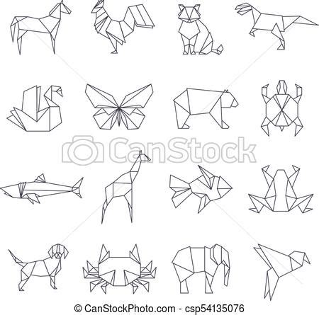 japanese origami paper animals vector  icons set