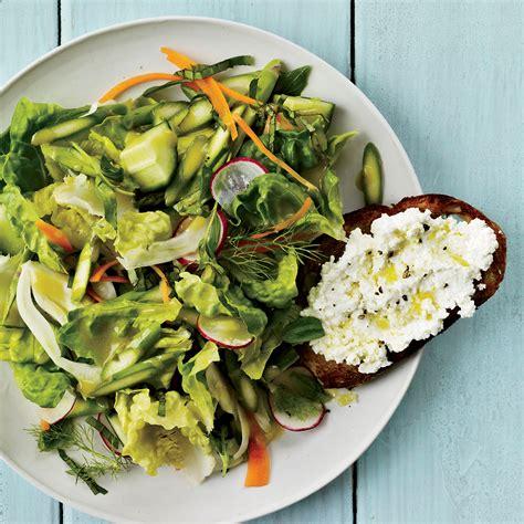 crunchy vegetable salad  ricotta crostini recipe