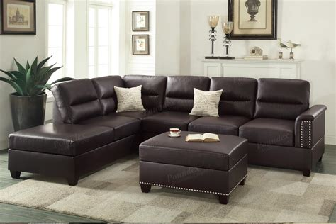 brown leather sectional poundex rousey f7609 brown leather sectional sofa