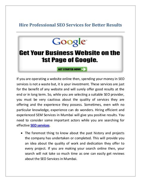 Professional Seo Services - hire professional seo services for better results