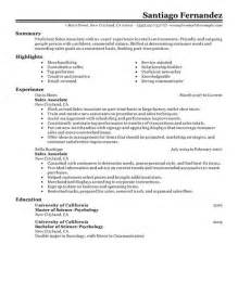 What To Put On A Part Time Resume by Best Part Time Sales Associates Resume Exle Livecareer