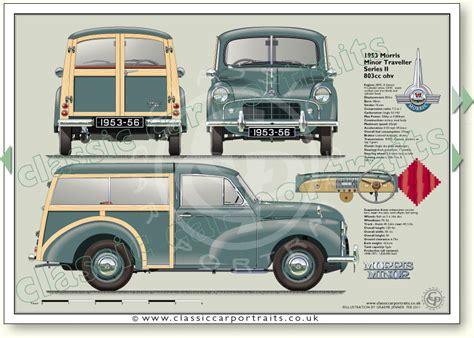 morris minor traveller series    classic car portrait print