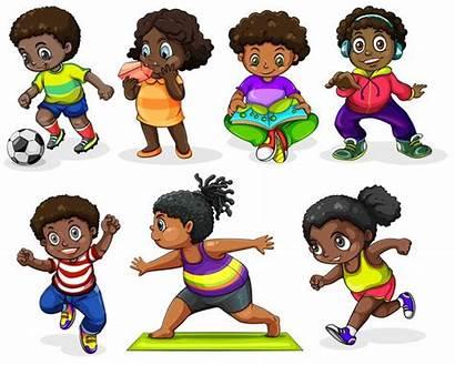 African Clipart Children Vector Activities Clip Different