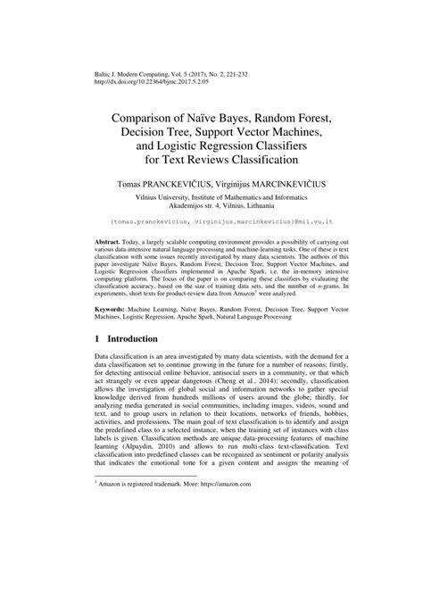 (PDF) Comparison of Naive Bayes, Random Forest, Decision