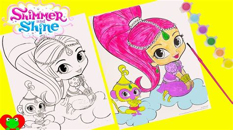 shimmer  shine coloring page water color painting