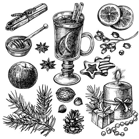 Sketch mulled wine and spices set hand drawn merry