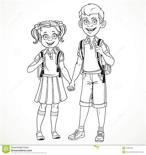 boy  girl   school bag holding hands  drawing