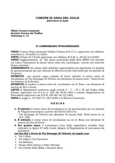 Comune Di Gioia Colle Ufficio Tecnico by Delibera Commissriale Ripristino Senso Unico Via Di Vittorio