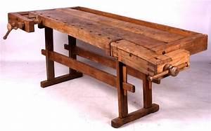 Antique Wooden Carpenter's Workbench