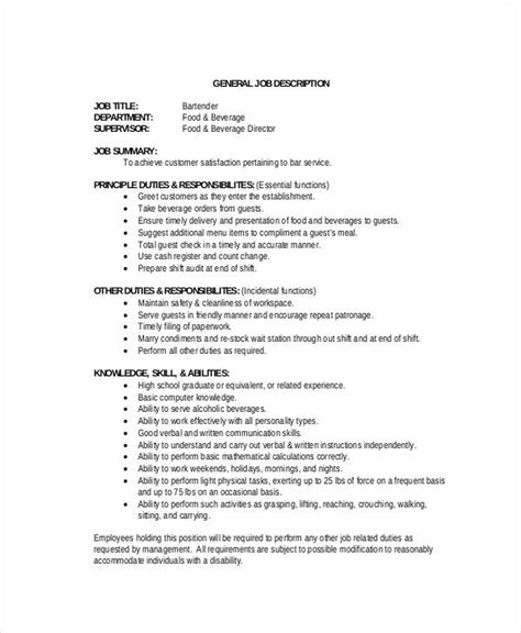 Bartender Description For Resume by 11 Bartender Description Templates Pdf Docs Free