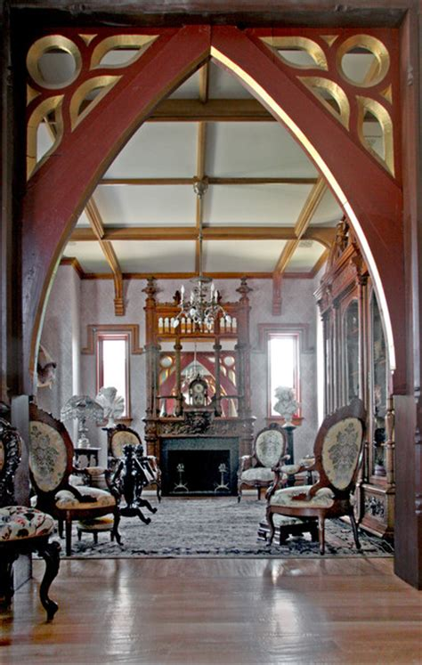gothic style home traditional living room miami