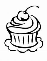 Cupcake Outline Drawing Coloring Clipart Birthday Cake Pages Clip Cupcakes Printable Happy Line Slice Clipartion Template Clipartbest Clipartmag Drawings Cartoon sketch template