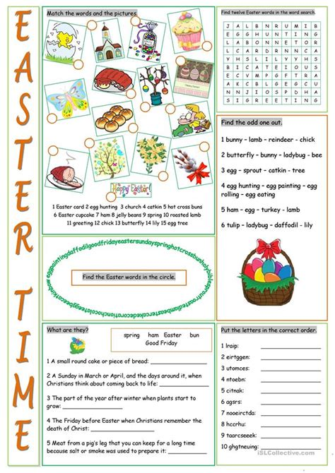 easter vocabulary exercises worksheet free esl printable