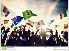 Group Of People Waving Flags In World Cup Theme Stock