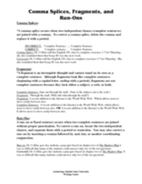 Comma Splices, Fragments, And Runons 7th  12th Grade Worksheet  Lesson Planet