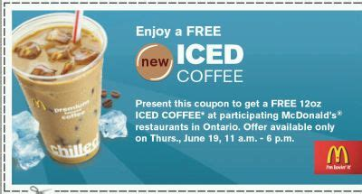 Be it a straight shot of coffee in the form of espresso or a hot chocolate with steamed full cream milk made with from mcflurry™ to ice cream sundae to apple pie, your choices are endless. McDonald's Restaurants Free 12oz Iced Coffee Printable Coupon - 11am to 6pm on June 19, 08 in ...