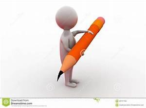 3d Man Pencil Concept Stock Illustration  Illustration Of