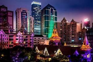 lights skyscraper night china asia tree light shanghai ...