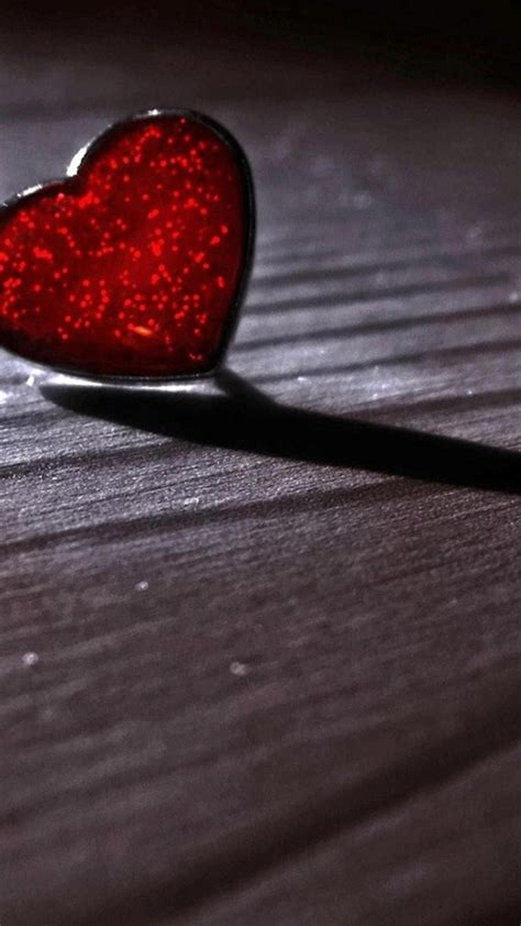glass red heart wood floor valentines day android