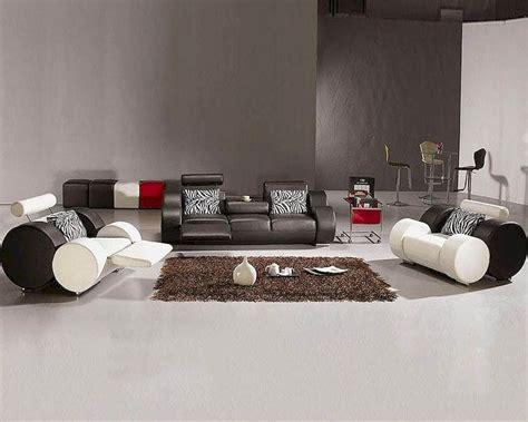 Modern Black And White Leather Sofa Set 44l3088