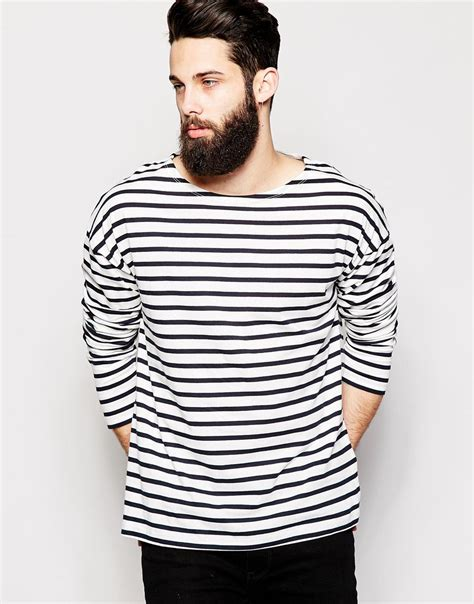 Boat Neck T Shirt For Mens by Lyst Asos Oversized Striped Sleeve T Shirt With