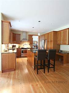 Kitchen With Island Natural Cherry Cabinet Fir Wood
