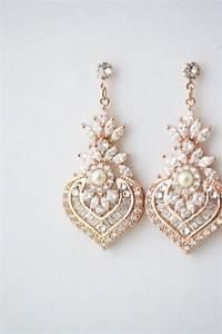rose gold earrings bridal earrings rose gold crystal With gold wedding ring earrings