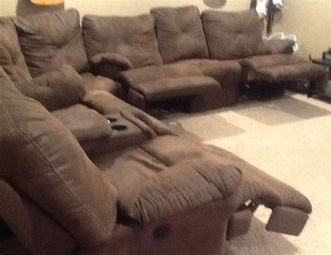 brown suede cloth sectional sofa   electric