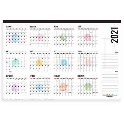 yearly wall calendar watercolor dots horizontal