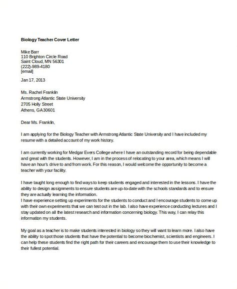Postdoc Cover Letter Sle Biology by 8 Biology Cover Letters Free Word Pdf Format