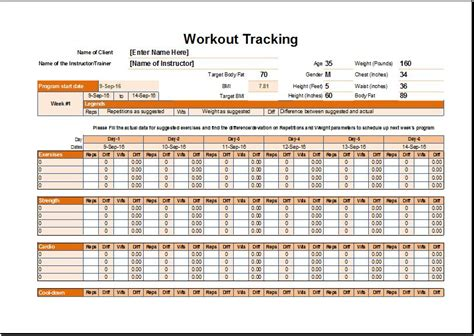 workout schedule tracker template  excel excel