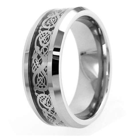 silver tungsten ring silver celtic dragon dark black