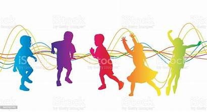 Dancing Children Playtime Vector Clip Carefree Action