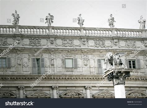Detail Beautiful Building Statues On Roof Stock Photo