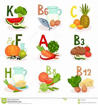 Vitamins Sources Cartoon Poster Different Nutrition Healthy