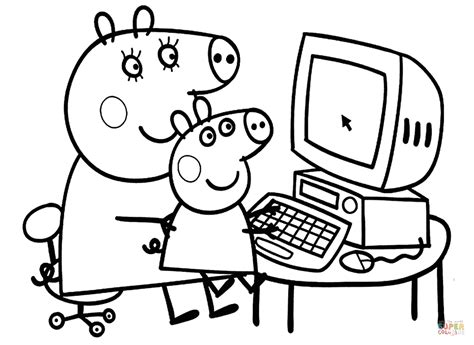 Peppa with Mummy coloring page Free Printable Coloring Pages
