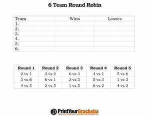 printable 6 team round robin tournament bracket With 6 team draw template