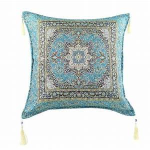 Housse De Coussin Bleu : coussin indien lycia bleu turquoise ~ Dailycaller-alerts.com Idées de Décoration