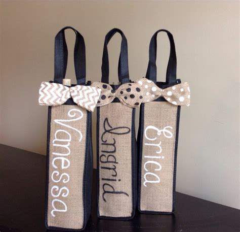 personalized burlap wine bag personalized bridesmaids gift