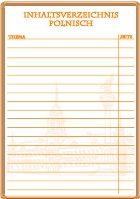 inhaltsverzeichnis polnisch ausdrucken