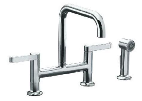 kohler torq bridge faucet kohler k 6126 4 cp torq deck mount bridge kitchen faucet w