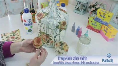 decoupage  craquelado sobre vidrio recicla envases de