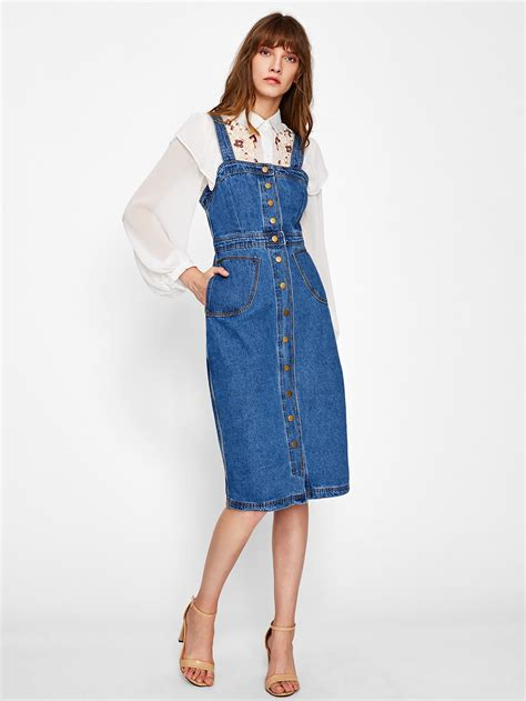 Button Front Strap Denim Overall Dress | ROMWE