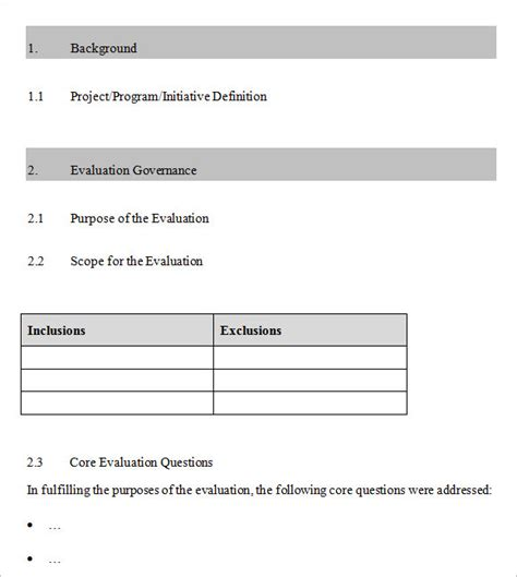 evaluation plan templates  samples examples